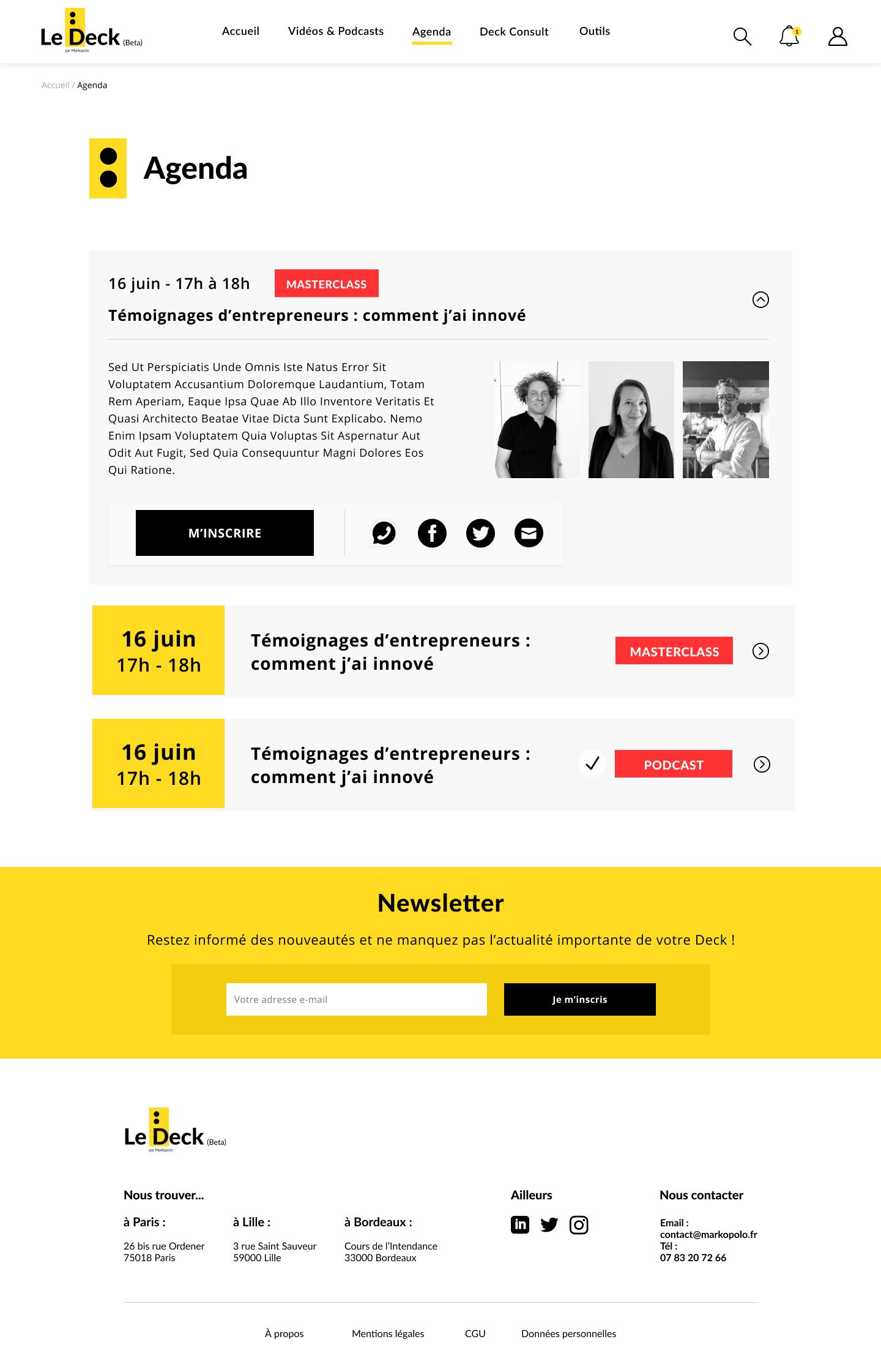agenda page - webdesign