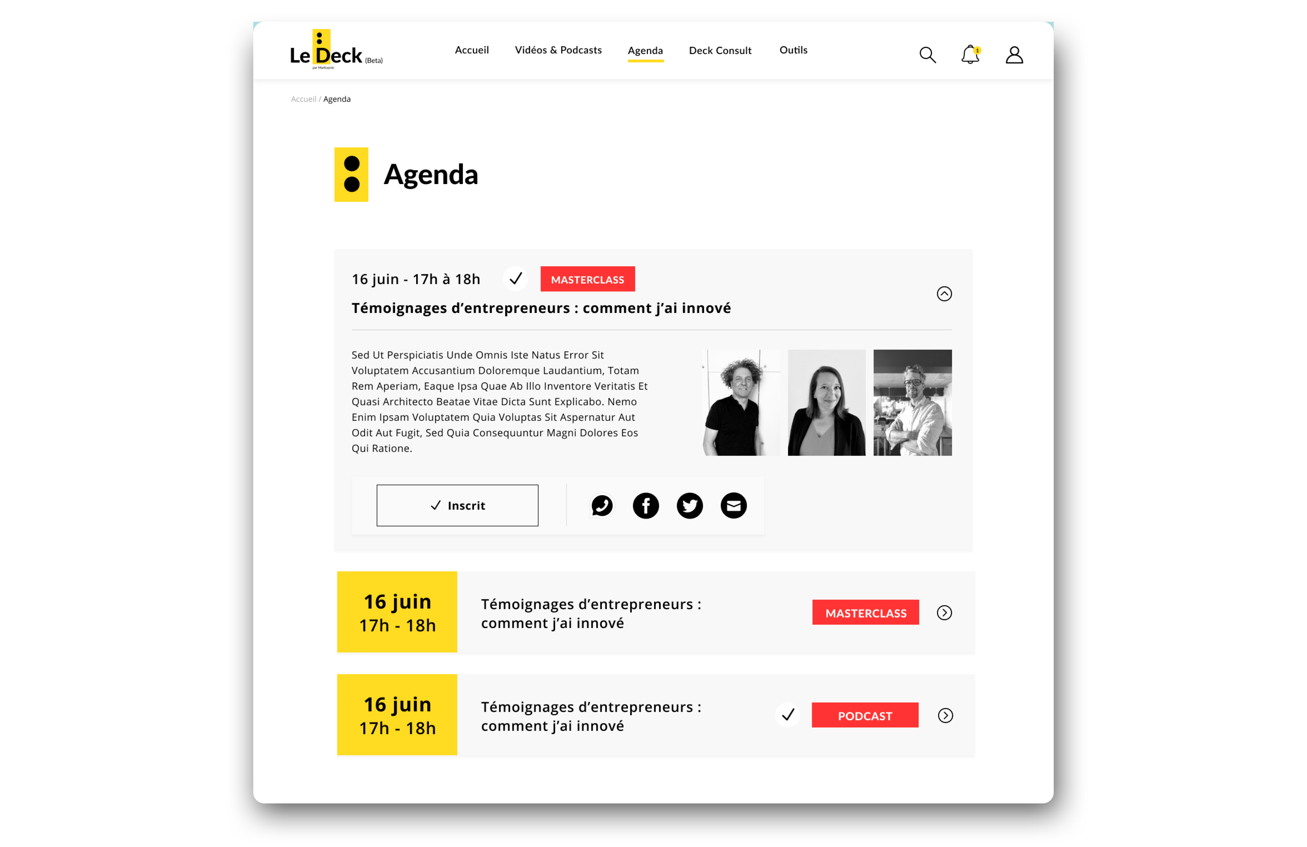 agenda inscrit - webdesign